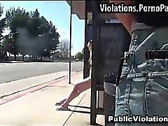 Surprise cumshot at bus stop