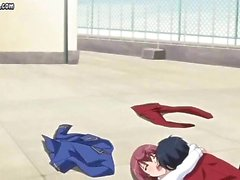 Redhead anime with big tits gets laid outside