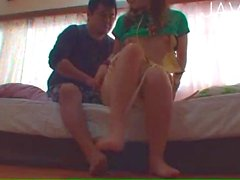 Pigtailed teen gives head