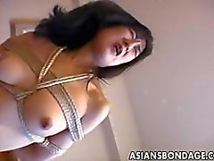 Tied up hottie sucks dick and rides cock