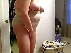 bbw wife, seethrough pantyhose, pantys, big tits, girdle