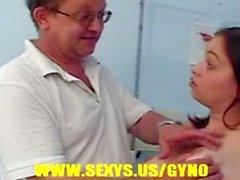 Hottie girl in gyno exam
