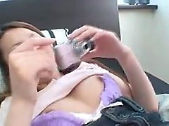 Busty asian girlfriend gives blowjob in POV