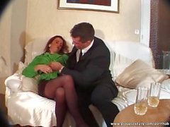Redhead maid gets horny with her boss