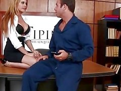 Busty secretary Corinna Blake fucked in a office by janitor