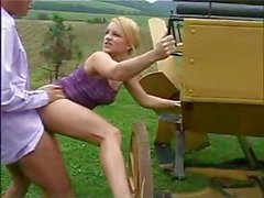 Young blonde Jessica Dee doesn't get pissed off, she gets pissed on outdoors