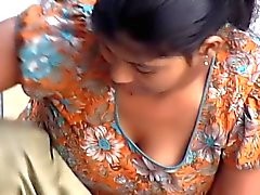 Indian Maid Downblouse While Washing