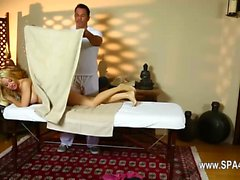 charming babes on special massage bed