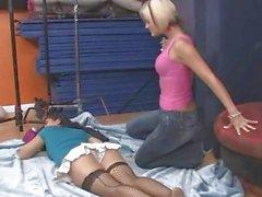 Hot blonde rims her sleeping roommate