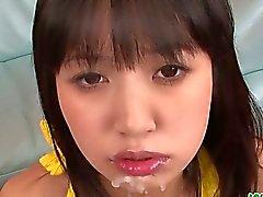 Kotomi Asakura teen asian gives blowjobs in a