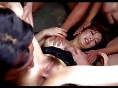 Asian Girl Licked And Fingered Giving Blowjobs For Guys On The Mattress In The Basement