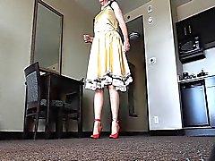 Sissy Ray in Gold Satin Dress in Hotel