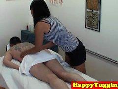 Asian masseuse Yuki Mori tugging and sucking