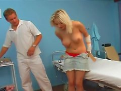 blonde teen with doctor