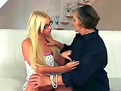Beautiful teen and hairy granny enjoying nasty sex