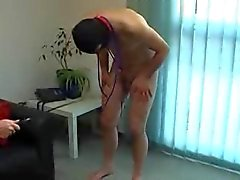 Hot girl tortures slave cock with wax