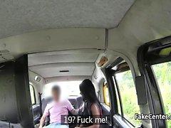 Ebony babe swallows cum in taxi
