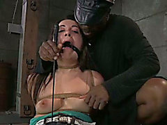 Darksome stud tortures fastened up brunette hair with petite meatballs