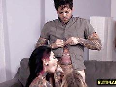 Tattoo babysitter threesome and cumshot