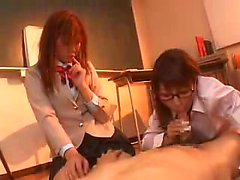 Two sultry Oriental babes take turns passionately riding a