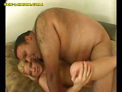 Blonde Fucked by a Fat Man