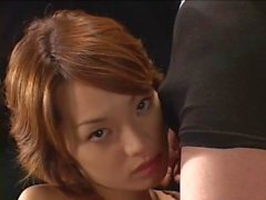 Palpitating Japanese brunette giving a stunning blowjob
