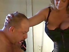 BBW Mistress face fucks slave