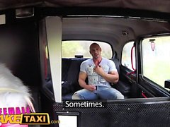 Female Fake Taxi Bodybuilder makes busty blonde cum