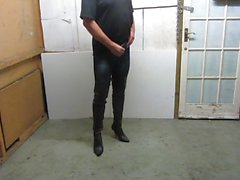 Rubbing my jeggings bulge in my old thigh boots