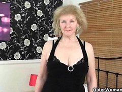 English grannies Clare Cream and Pearl wear stockings