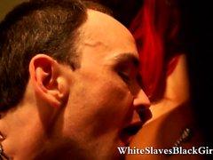 Black girls using a white slave