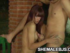 Slender shemale Michelli Cerqueira pleasing a cock