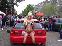 Car show with hot babes in bikinis strutting their stuff an
