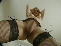 Blonde Tgirl big cock tugging