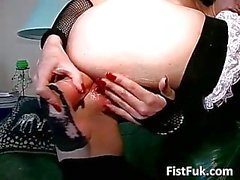 Horny slut self fisting