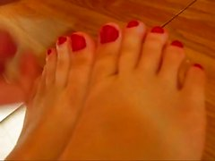 beatiful breasts, footjob