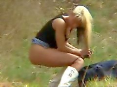 Blonde Girlfriend Gets Dirty in Forest