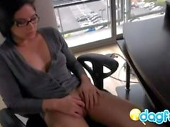 Brunette Kami watching porn and masturbating
