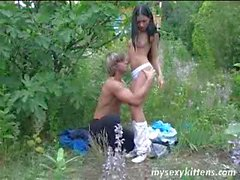 Long haired teen Katja gets ass fucked