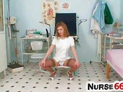 Naughty nurse Olga Barz pussy flexing with two dildos