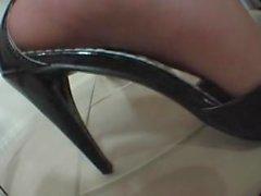 Sara Black Dress Foot Tease
