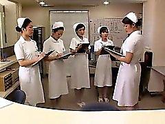 Slutty Japanese nurse rides a patient's hard pole until she
