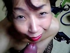 Insatiable Japanese lady drops to her knees and worships a