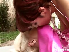 Two naughty German girls who love rubber get nasty in the