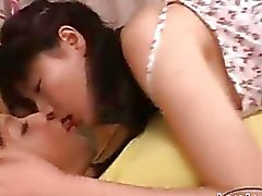 2 Asian Girls Kissing Sucking Each Other Nipples On The Bed In The Room