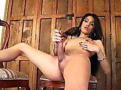 Skinny small tits tgirl jerking her cock