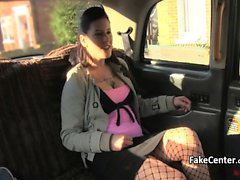 Chubby tattooed babe fucking taxi driver