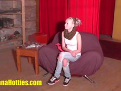 Skinny 18yo chick licked and fucked at the CASTING