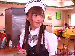 Petite jap beauty giving head and handjob