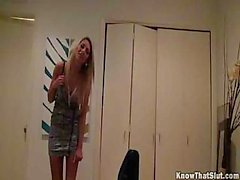 Naked blond doesn`t want to be nabbed while doing nasty things